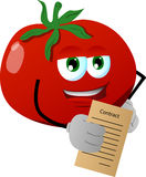 Business tomato holding contract Royalty Free Stock Photography