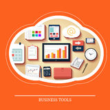Business tools in flat design Stock Photos