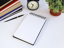 Business tools. The working surface of a notebook for records Stock Images