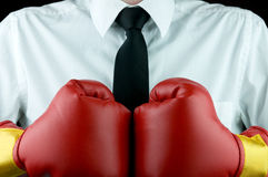 Business tough. Business boxing gloves (business tough Stock Photography