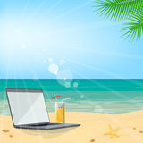 Business tourism. Summer beach vacation, seascape, laptop on the Royalty Free Stock Images