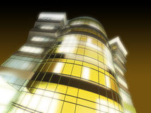 Business tower. 3d visualization of business tower with lights stock illustration