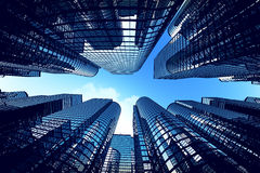 Business towers with fisheye lens effect. Stock Photo