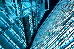 Business towers at night stock image