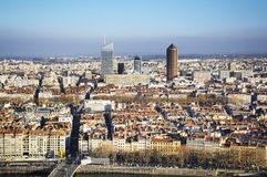 Business towers and rooftop, Lyon, France Stock Images