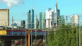 Business Towers and Train In Frankfurt stock video footage