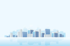 Business town. With reflection in blue color Royalty Free Stock Photo