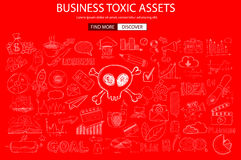 Business Toxic Assets concept with Doodle design style Stock Image