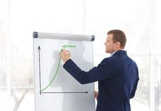 Business trainer giving presentation on flip chart board. Indoors royalty free stock photos