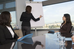 Business training. Businesspeople are discussing the work, or a salesperson or investment adviser is talking very friendly to female clients, good customer stock photos