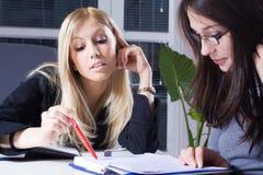Business training. Young businesswomen in training school stock photo