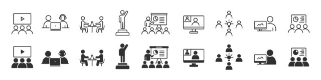 Free Business Training And Workshop Icons Collection In Two Different Styles Stock Images - 216237194
