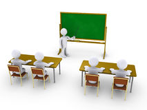 Business training as in school. Four 3d people as students in school and another as teacher Royalty Free Stock Photo