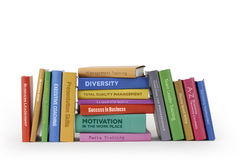 Business training books. A selection of mocked-up training manuals for business, covering various subjects such as Diversity, Leadership, Motivation Royalty Free Stock Photos