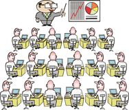 Business training cartoon. Business executive giving lecture to employees Royalty Free Stock Image