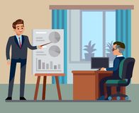 Business training class. Coaching sale presentation or exam in school classroom convention auditorium illustration. Business training class. Coaching sale vector illustration