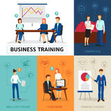 Business Training  Concept Composition Banner. Certified business consulting program with training course conferences and workshops flat banners composition Stock Photography