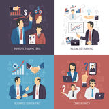 Business Training Concept 4 Flat Icons. Business management skills training and consulting services concept 4 flat icons square design abstract  vector Royalty Free Stock Images