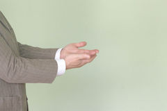Business training concept. Photo for your. Design. The man is holding his hands in profile Stock Image