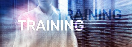Business training concept. Training Webinar E-learning. Financial technology and communication concept. Business training concept. Training Webinar E-learning stock photography