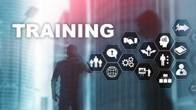 Business training concept. Training Webinar E-learning. Financial technology and communication concept. Business training concept. Training Webinar E-learning royalty free illustration