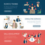 Business Training Consulting Horizontal Banners Set Royalty Free Stock Images