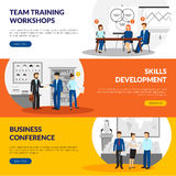 Business Training Consulting 3 Horizontal Banners. Business training consulting skill development workshops information 3 flat horizontal banners webpage design Stock Photos