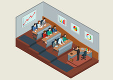 Business training education concept flat 3d web isometric. Infographic . People in auditory listening to lecture teacher. Creative people collection Stock Photography