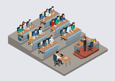 Business training education concept flat 3d web isometric. Infographic . People in auditory listening to lecture teacher. Creative people collection Royalty Free Stock Photo