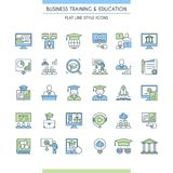 Business training and education icon set. Consulting, learning and teaching. Professional and career growth. Vector illustration Royalty Free Stock Image