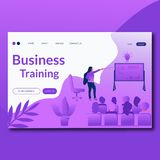 Business Training- Flat Landing page template. Modern flat concept for web design. Vector illustration with woman and presentation stock illustration