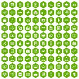 100 business training icons hexagon green. 100 business training icons set in green hexagon isolated vector illustration Vector Illustration