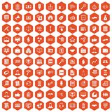 100 business training icons hexagon orange. 100 business training icons set in orange hexagon isolated vector illustration royalty free illustration