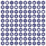 100 business training icons hexagon purple. 100 business training icons set in purple hexagon isolated vector illustration Royalty Free Stock Photo