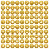 100 business training icons set gold. 100 business training icons set in gold circle isolated on white vectr illustration royalty free illustration