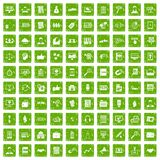 100 business training icons set grunge green. 100 business training icons set in grunge style green color isolated on white background vector illustration stock illustration