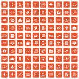 100 business training icons set grunge orange. 100 business training icons set in grunge style orange color isolated on white background vector illustration Stock Images