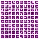100 business training icons set grunge purple. 100 business training icons set in grunge style purple color isolated on white background vector illustration Royalty Free Stock Photography