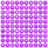 100 business training icons set purple. 100 business training icons set in purple circle isolated vector illustration Royalty Free Stock Images
