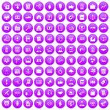 100 business training icons set purple. 100 business training icons set in purple circle isolated vector illustration stock illustration