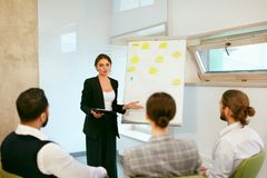 Business Training. People Meeting In Office. Business Woman Giving Project Presentation To Colleagues. High Resolution royalty free stock photos
