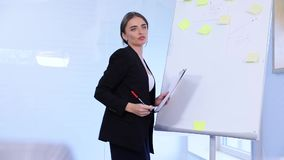 Business Training. People Meeting In Office. Business Woman Giving Project Presentation To Colleagues stock footage