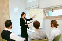 Business Training. People Meeting In Office. Business Woman Giving Project Presentation To Colleagues. High Resolution royalty free stock images