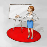 Business training presentation. Female coach on the red carpet standing next to whiteboard Royalty Free Stock Photo