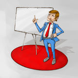 Business training presentation. Male coach on the red carpet standing next to whiteboard Royalty Free Stock Photography