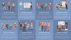 Business Training Seminars Set of Posters Vector. Business training seminars set of posters with co workers taking part at conference discussions and Royalty Free Stock Images