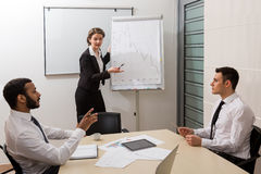 Business training. Business training for students. Teacher is teaching the students Stock Photo