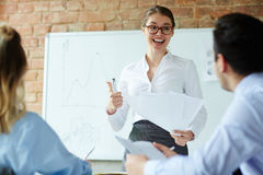 Business training. Successful professional making speech for colleagues at seminar or briefing stock photos