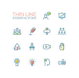 Business Training - Thin Single Line Icons Set Royalty Free Stock Photos