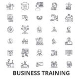 Business training, training session, learning, business meeting, presentation line icons. Editable strokes. Flat design